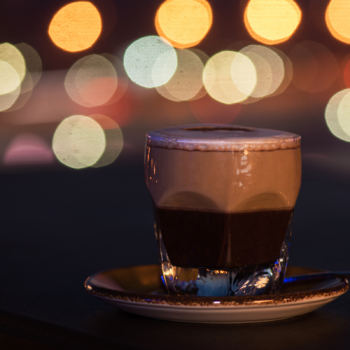 Latte coffee with bokeh background